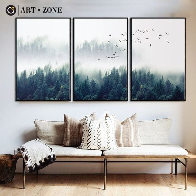 Art Zone Nordic Forest Landscape Wall Art Canvas Poster Print Canvas Painting Decorative For Livin Canvas Painting Landscape Landscape Wall Art Landscape Walls