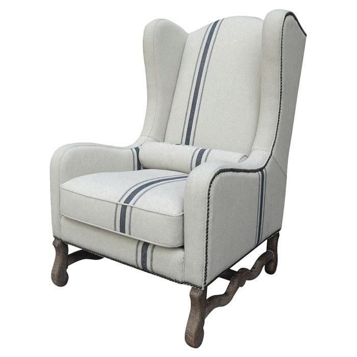 Superb Breezy And Beautiful, This Wood Framed Wingback Arm Chair Is Wrapped In Off  White Linen Upholstery Accented With An Indigo Stripe.