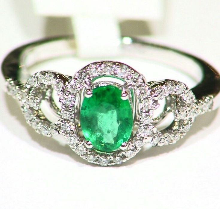 .88CT 14K GOLD NATURAL EMERALD WHITE CUT DIAMOND VINTAGE DECO ENGAGEMENT RING #saltydogwalter #Cocktail #Birthday