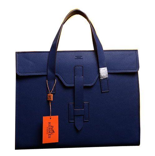 Hermes Briefcase Original Grainy Calf Leather H1120 Blue - $259.00