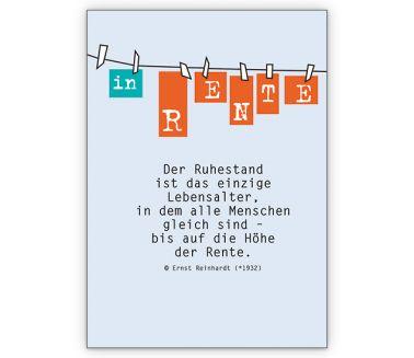 In Rente - Die Grußkarte zum Ruhestand » Grusskarten Onlineshop 1agrusskarten.de