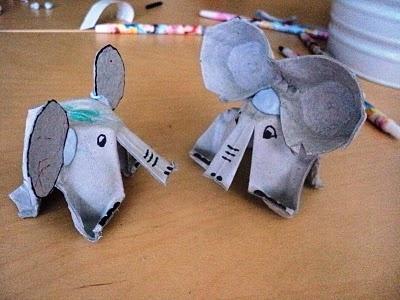Egg carton elephants