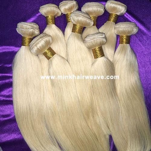Wholesale Brazilian Hair Blonde color 613 Silky Straight Mink Hair Platinum Blonde Brazilian Hair
