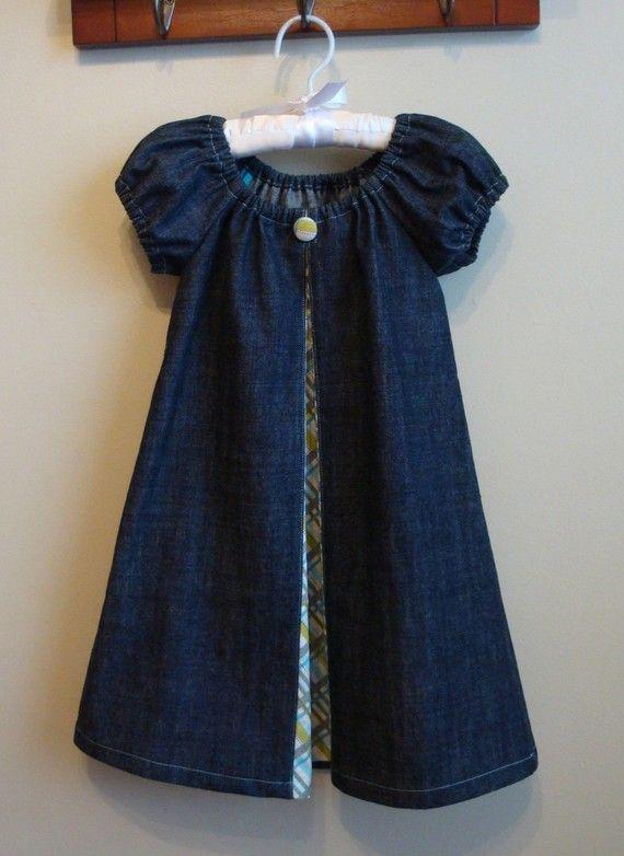 denim peasant dress with a peekaboo contrast pleat