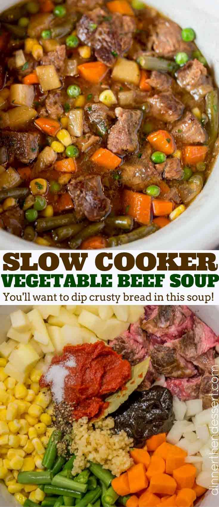 Slow Cooker Vegetable Beef Soup with is the most comforting, EASY soup you'll make. You'll want to dip crusty bread into the amazing flavors in this soup.