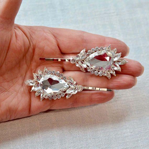 Set of 2 Beautiful Handmade Vintage Inspired Fancy Cut Crystal Rhinestone Hair Pins, Bridal, Wedding (Sparkle-2840)