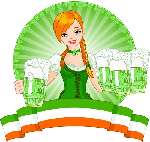 Girl with beer oktoberfest vector material 04