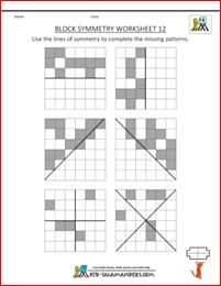 Block Symmetry sheet 12 with horizontal, vertical and diagonal lines of symmetry