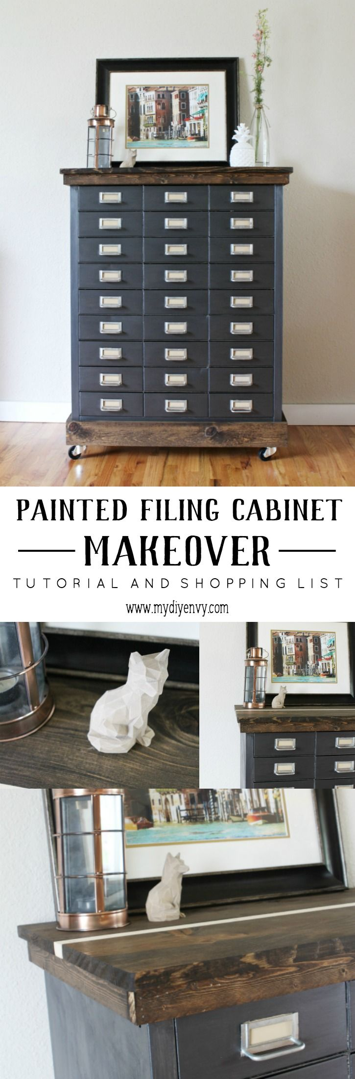 This painted filing cabinet makeover is amazing! Learn how to use Country Chic metallic cream to restore this metal filing cabinet and add a new wood top! | www.mydiyenvy.com