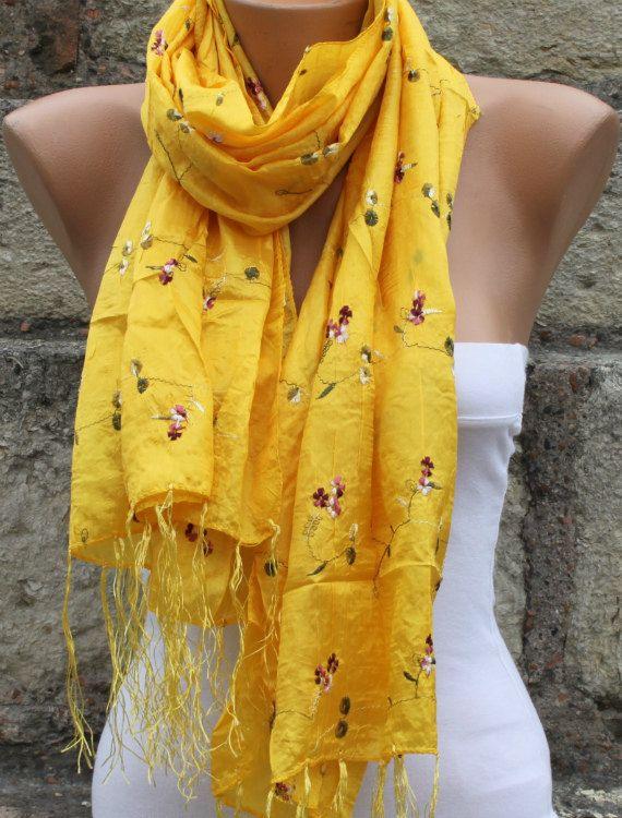 Yellow Silk Scarf Spring Scarf Floral Scarf  Gold Scarf  - Shawl Scarf -  Cowl Scarf -  bridesmaid gift  Women Fashion Accessories