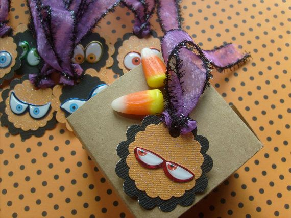 Halloween Party Gift tags, GoBBlIn BiG EyEs cute scallopped Gift Tags....  Qty. 12 on Etsy, $8.50