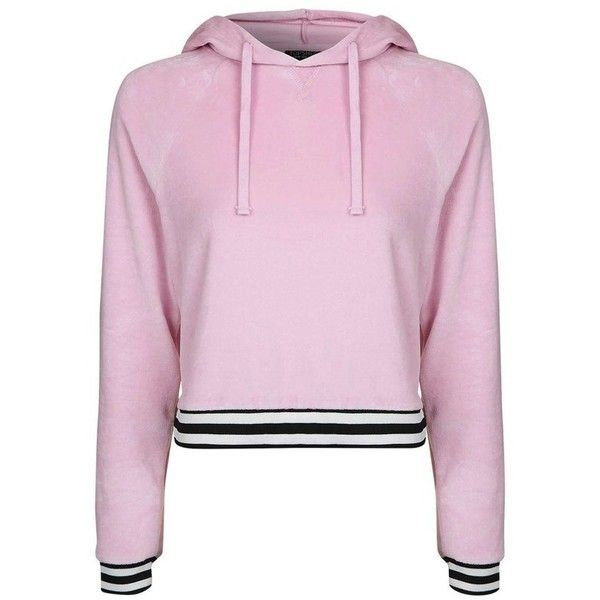 Women's Topshop Stripe Edge Velour Hoodie (253445 PYG) ❤ liked on Polyvore featuring tops, hoodies, pink multi, pink hooded sweatshirt, sweatshirt hoodies, hooded pullover, striped hoodies and hooded sweatshirt