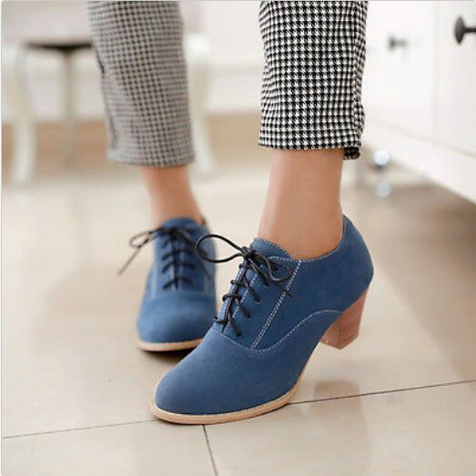 Zapatos vintage para mujer Free Ship Faux Suede Lacing Block Mid Heels Venta caliente   – fashion