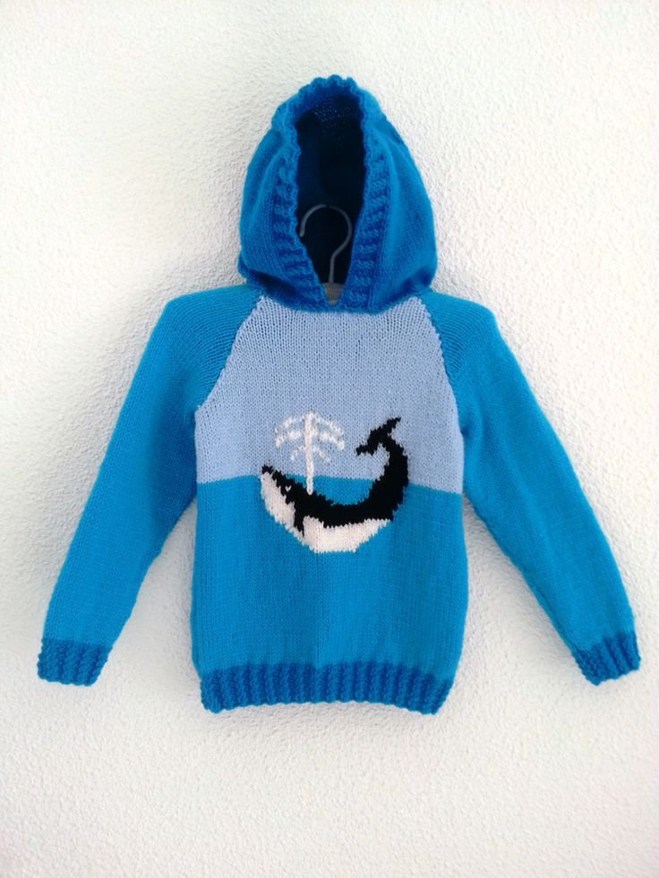Child's Whale Sweater Knitting Pattern  Hoodie by iKnitDesigns, £2.99