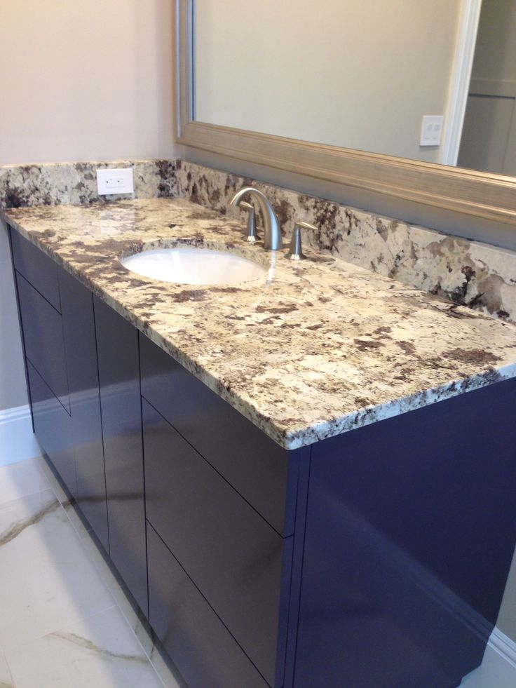 White/Tan/Beige Bathroom Granite Countertops With Granite Backsplash And  Oval Undermount Sink With