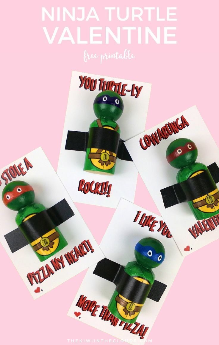 Ninja Turtle Valentine Free Printable | These free printable TMNT valentines are perfect for little boys! Use DIY TMNT peg dolls, Lego mini figs, or even ninja turtle themed candy! Click through to download now.