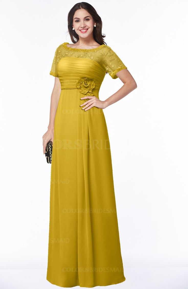 Best 25 lemon bridesmaid dresses ideas on pinterest yellow lemon curry traditional short sleeve zip up chiffon floor length flower bridesmaid dresses ombrellifo Images