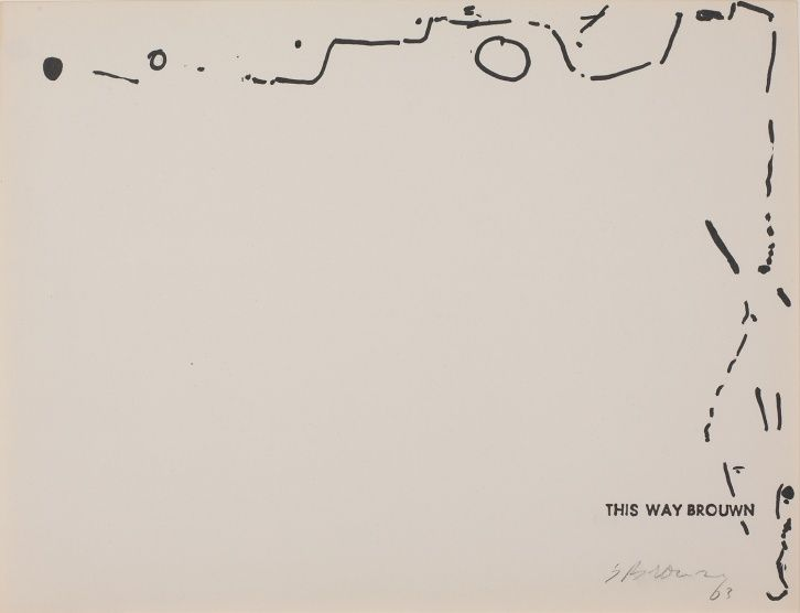 "Stanley Brouwn, 1935-2017. For his 1960s series ""This Way Brouwn,"" the artist would approach passersby and ask them to draw directions to a particular place on a piece of paper. He would then print on each drawing with a stamp that said ""This way Brouwn."" Blank pages on which someone hadn't drawn anything, because they didn't know how to give the directions, were also considered works by the artist."