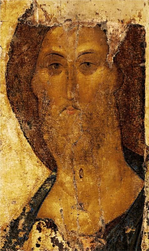"""""""Când vei veni întru slava Ta, cu mii și cu milioane de Puteri, ca să judeci tot pământul, atunci Doamne, să-Ți fie milă de mine, să mă ierți și să mă izbăvești de osândă; să nu mă rușinezi, nici să mă osândești în focul cel veșnic"""" (Din slujba zilei de Luni în a treia săptămână a Sfântului și Marelui Post).  Iisus Hristos Mântuitorul - icoană pictată de Andrei Rubliov în anul 1410"""