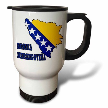 3dRose The flag of Bosnia and Herzegovina in the outline map of the country and name Bosnia Herzegovina, Travel Mug, 14oz, Stainless Steel