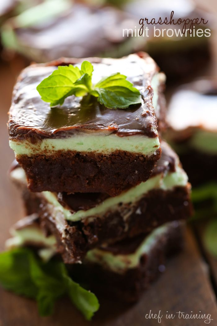 Grasshopper Mint Brownies from chef-in-training.com ...These brownies ...
