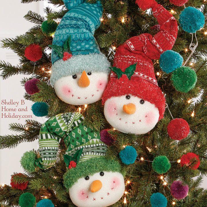 snowman head christmas ornaments in ski hats set of 3 - Snowman Christmas Decorations