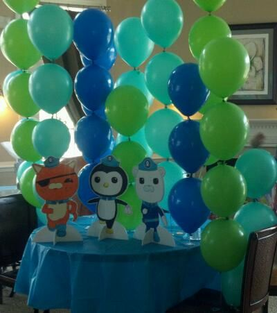 """My very creative nephew did this """"kelp"""" balloon wall and the Octonauts for his daughters birthday."""