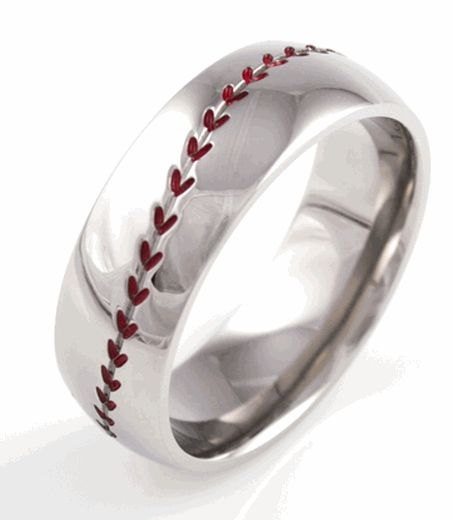 Baseball wedding band.    This is so freakn cute and creative! I love baseball! I grew up playing baseball and softball! N all I watch it baseball!! When I get married if my husband is die hard baseball fan like me I'm totally getting this! Awesome cute idea! As a ring yes but wedding band?!?