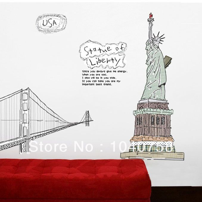 Exceptional Graffiti Statue Of Liberty Wall Sticker For Kids Nursery Babies Room,  Removable Large Vinyl Decal Part 30
