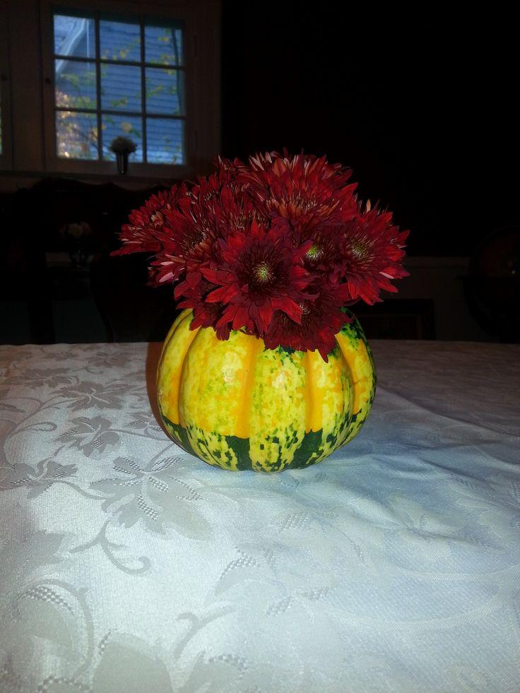 Carnival squash vase with pumpkin mums