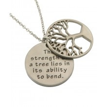 This Bold Pendant Necklace Depicts The Legendary Tree Of Life Above A Flat  Circle Pendant Inscribed With An Inspirational Quote.