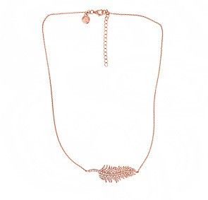 Rose Vermeil Pavé Feather Necklace