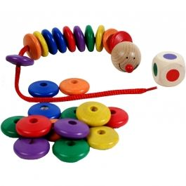 Houten Speelgoed   Wormpje Rijgen Spel