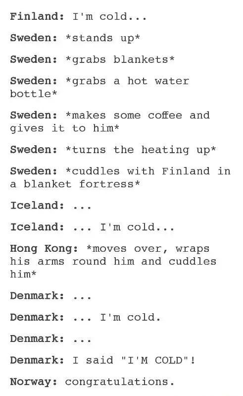 Hetalia - Sweden / Finland (SuFin) / Hong Kong / Iceland (HongIce) / Denmark / Norway (DenNor)