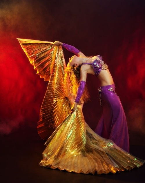 Gold Isis wings. purple belly dance costume
