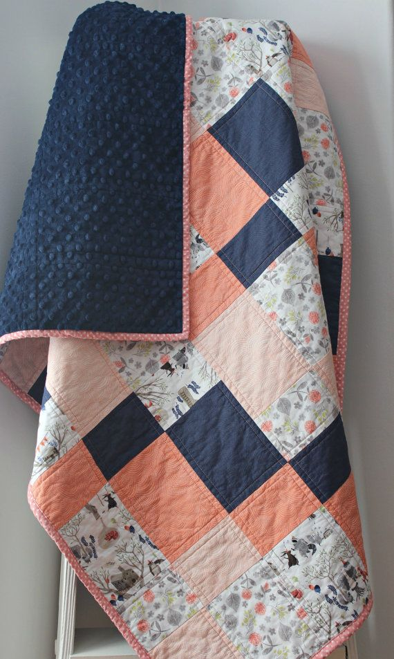 Coral Baby Quilt for Girl Coral and Navy by LittlebCottonShoppe