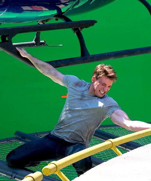 Chris Evans on the set of Captain America: Civil War