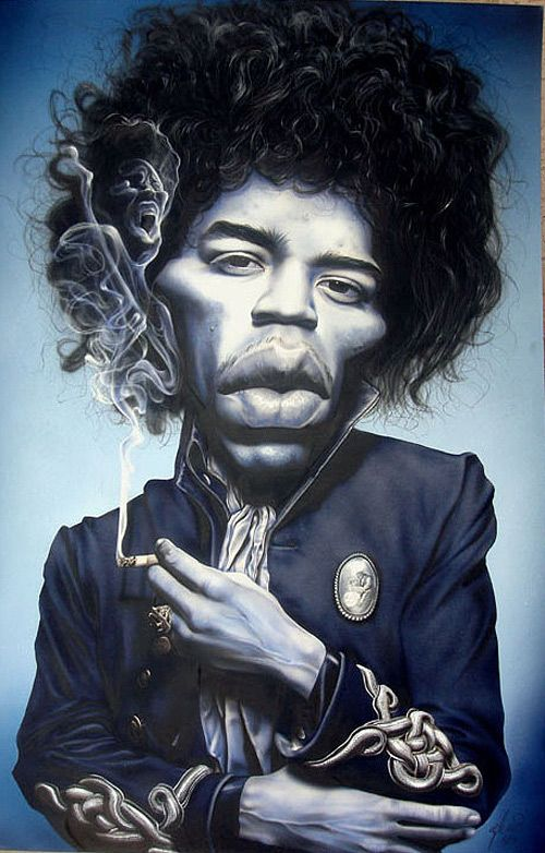 Caricatura de Jimi Hendrix.