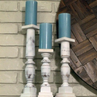DIY CANDLESTICKS from banister polls...finally something to do with the recycled banisters in my basement :)