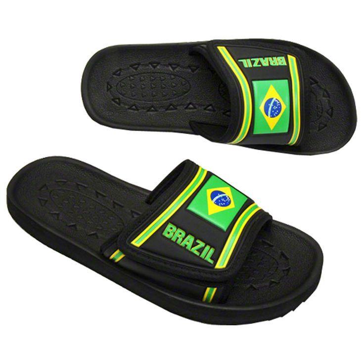 Brazil Country Slide Sandals - Black - $24.99