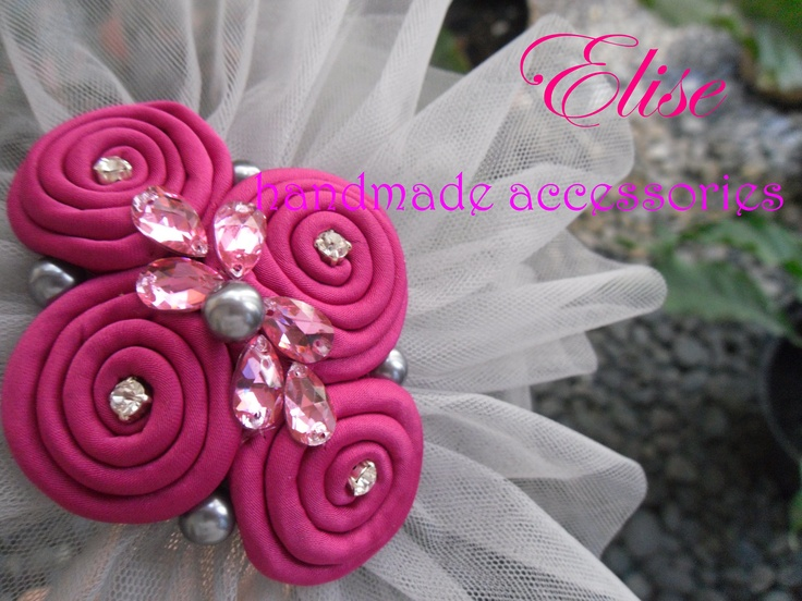 headbands tulle pearls grey - pink fuscia .
