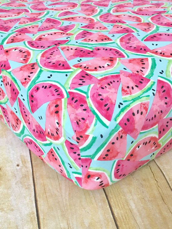Watercolor Watermelon Crib Sheet // Summer Fruit Crib Sheet // l // Watermelon Sheets // Fruit Sheets // Summer Fitted Crib Sheets