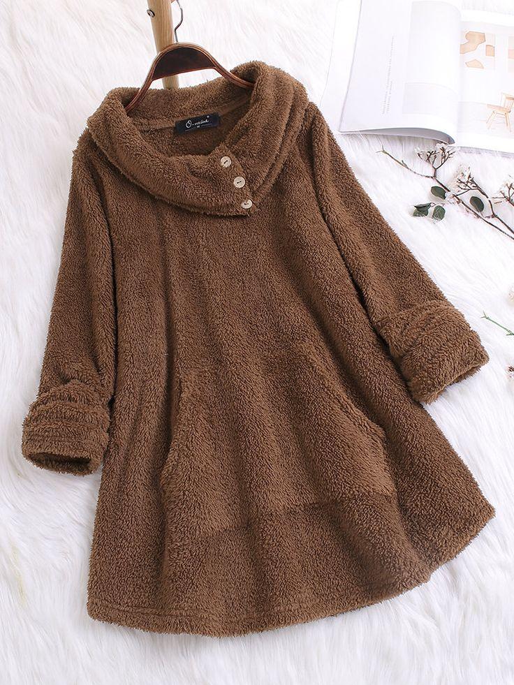 Cowl Neck Button Pocket Plus Size Sweatshirt for Women 5