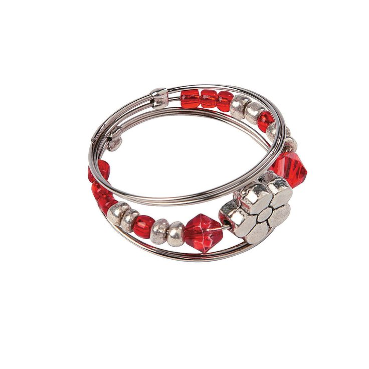 Red & White Memory Wire Ring - OrientalTrading.com