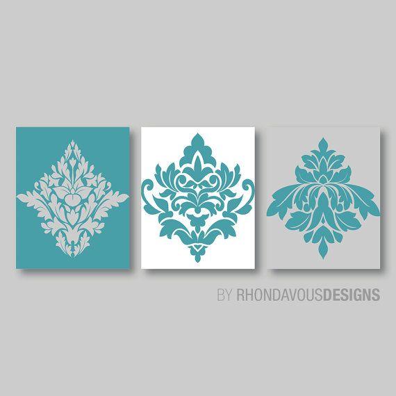 Bathroom Art Size: Turquoise Blue White Gray French Damask Print Trio