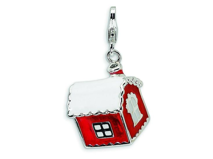 Amore LaVita Sterling Silver 3-D Enameled House with Snow on Roof w/Lobster Clasp Bracelet Charm