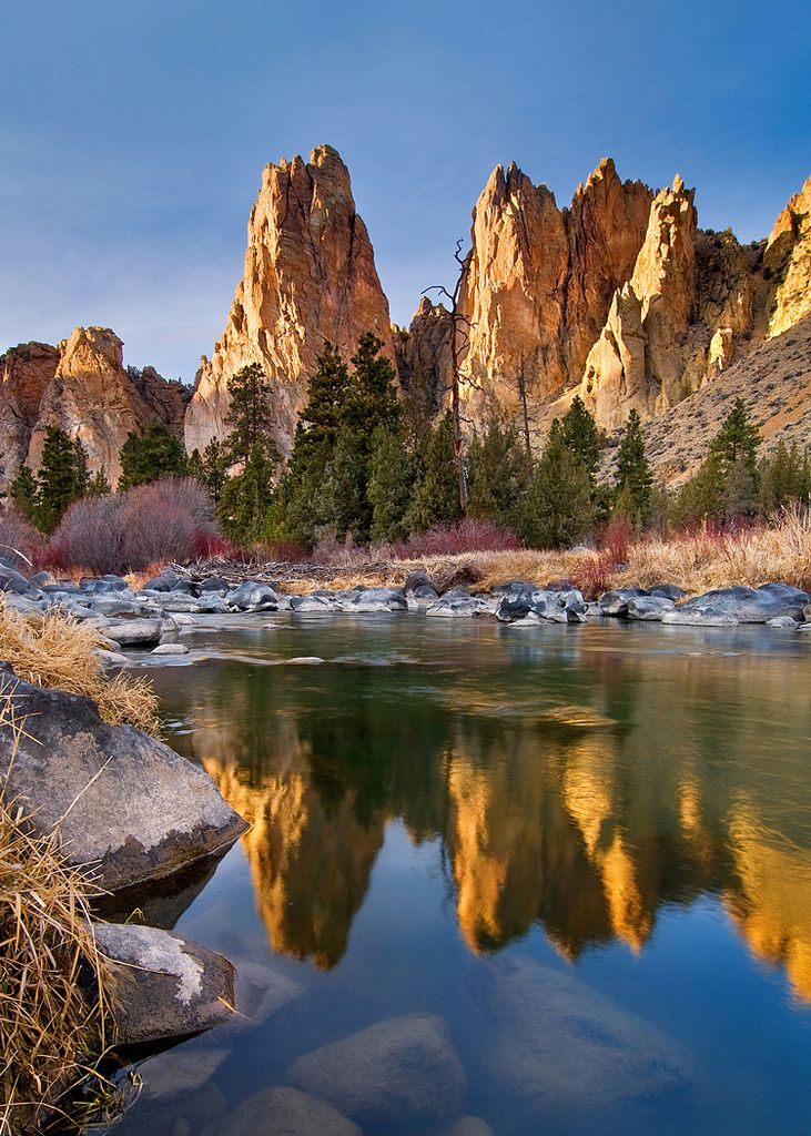 "Smith Rocks ""towers"" reflecting in the Crooked River, Oregon."