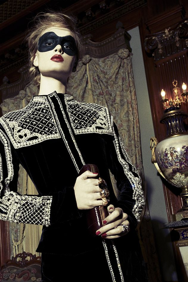 ♥ After Dark #@Balmain Black Pearl Embellished Blouse Dressed Up With @Alexander McQueen Burgundy Skull Knuckle Box Clutch ♥