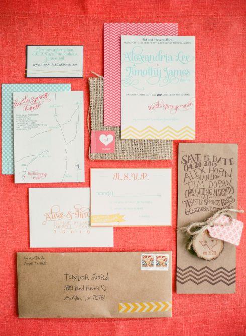 Mint, pink, mustard wedding invitations by Teal Typewriter Studios--theSpunkySapphire.wordpress.com
