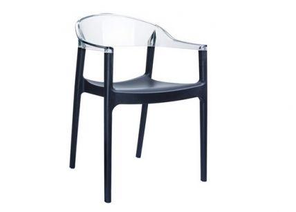 Καρέκλα πολυκαρμπονική μαύρο-διάφανο | puzzlehome